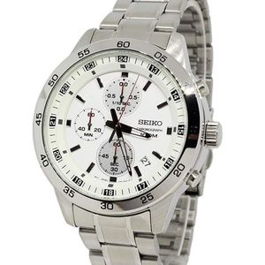 Seiko Chronograph Quartz White Dial Men's Watch SK